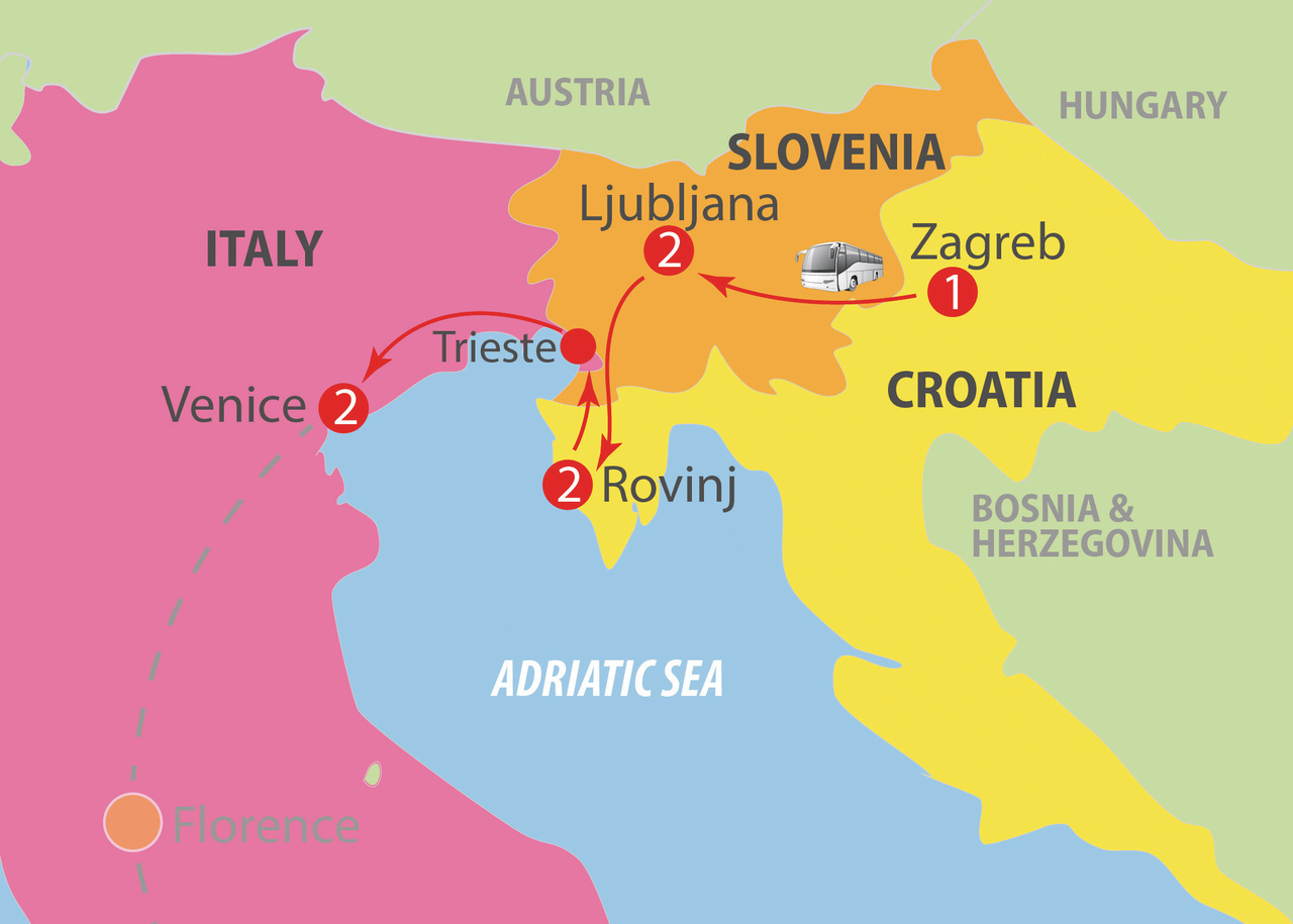 CIE Tours Tour Map  - Once Upon A Time In Yugoslavia - 14 Day