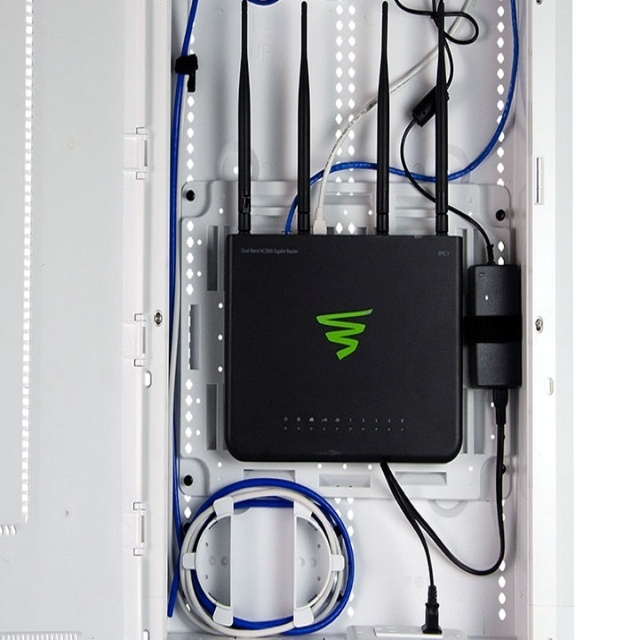 Luxul networking product in structured wiring enclosure