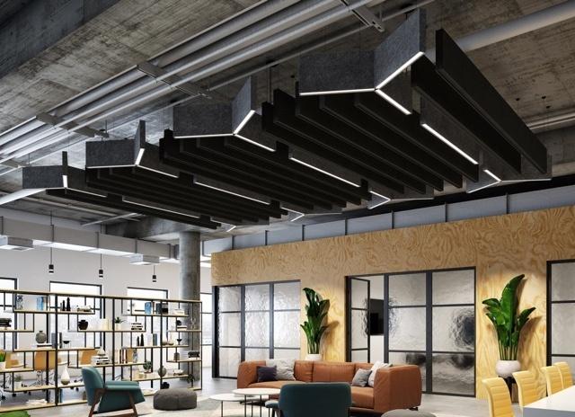 Custom lighting fixtures in an open modern office