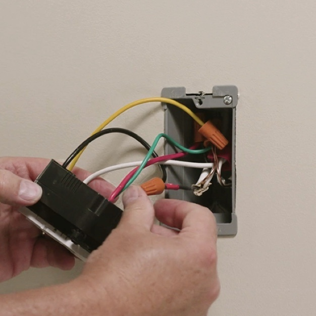 Light switch installation with wiring