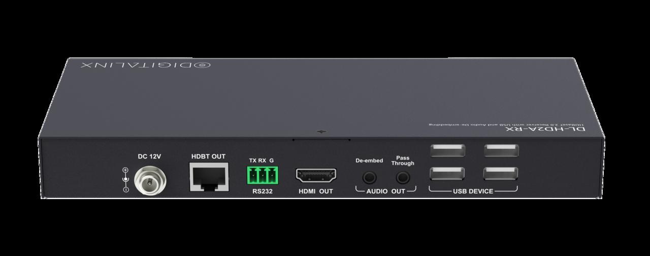 DL-HD2A-RX - Digitalinx HDBaseT Receiver w/USB Hub and Audio De-Embedding