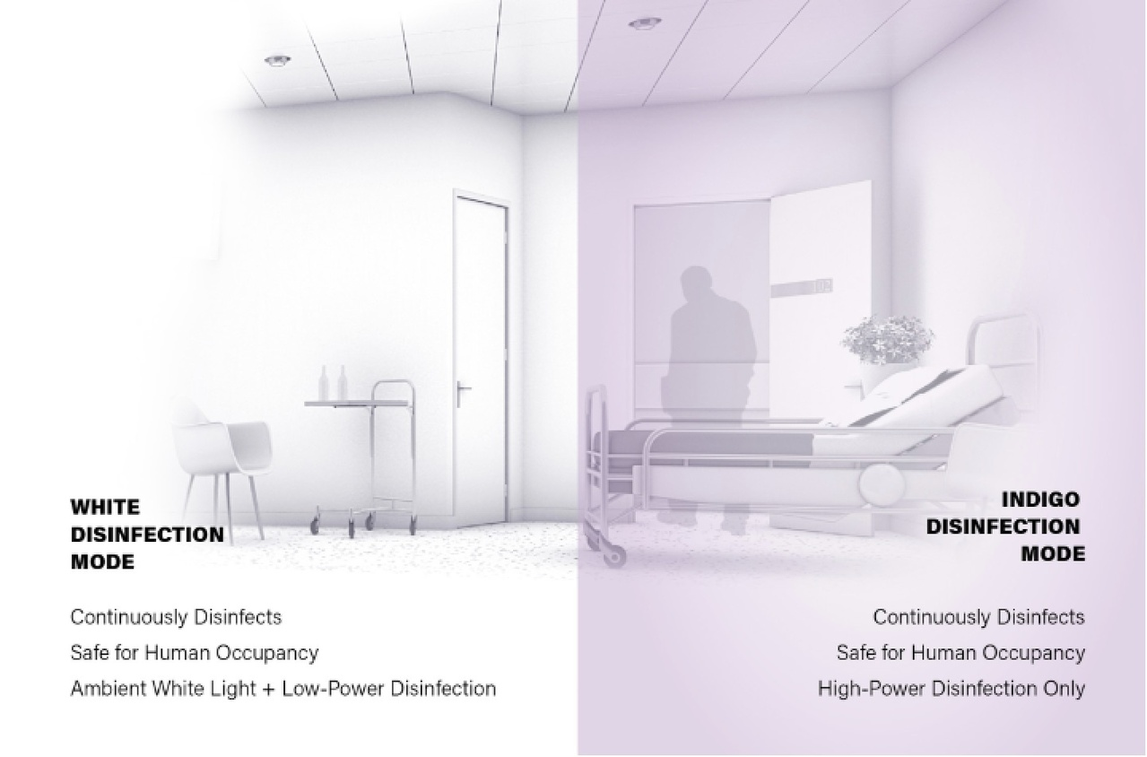 Drawing of disinfecting lighting option in healthcare office