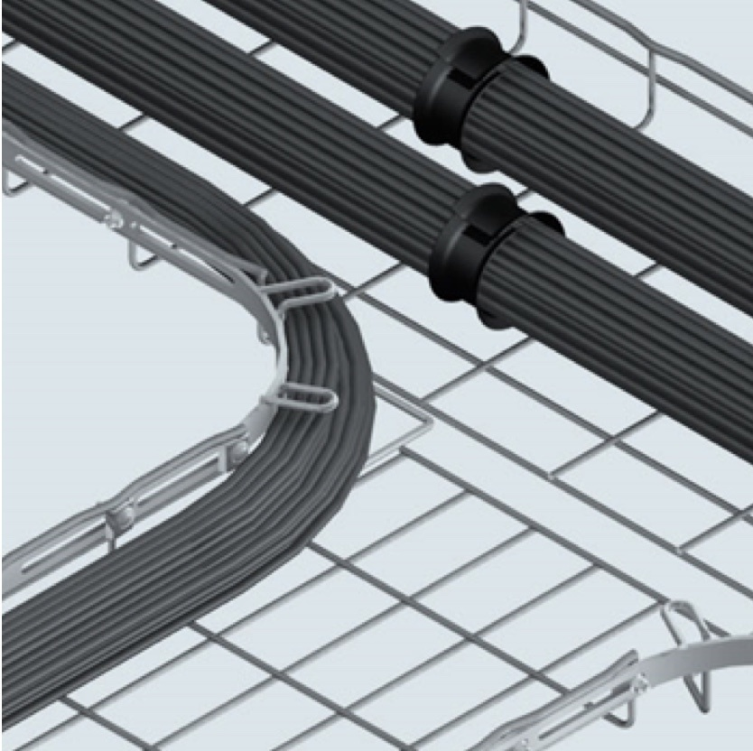 Cable tray with cablobend rendering