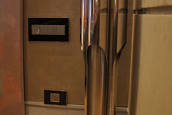 adorne Mirror Black Wall Plate with Magnesium Dimmers
