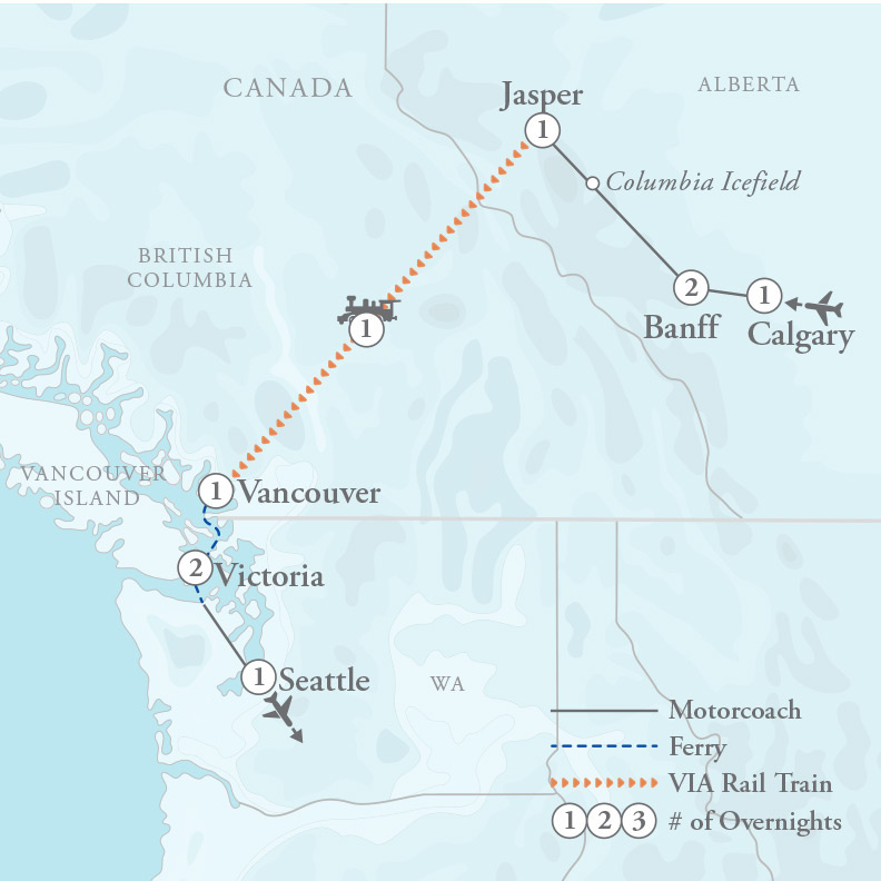 Tour Map for Canadian Rockies, Vancouver & Victoria