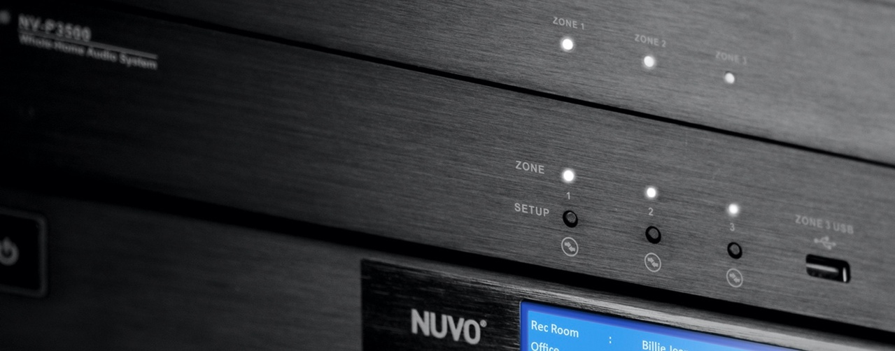 Focused shot of Nuvo whole home audio equipment