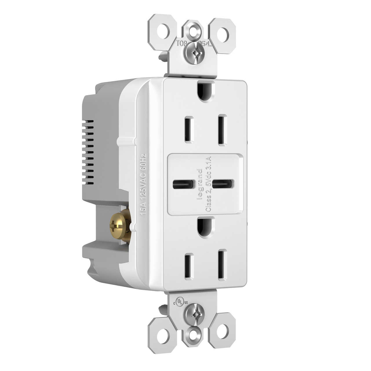 Type C/C USB Chargers with Duplex 15A Tamper-Resistant Outlet, White