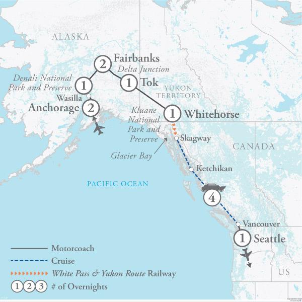Tour Map for Alaska & Glacier Bay Cruise