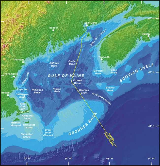 Green land and blue water indicates US and Canada areas in the Gulf of Maine