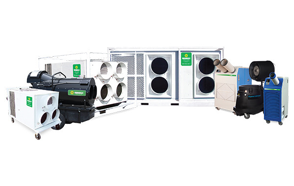 Selection of heating and cooling equipment available for rent at Sunbelt Rentals