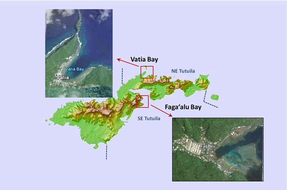 Map displaying the two sampling areas: Vatia Bay and Faga'alu Bay, Tutuila, American Samoa.