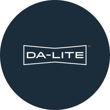 Da-Lite logo with navy blue background