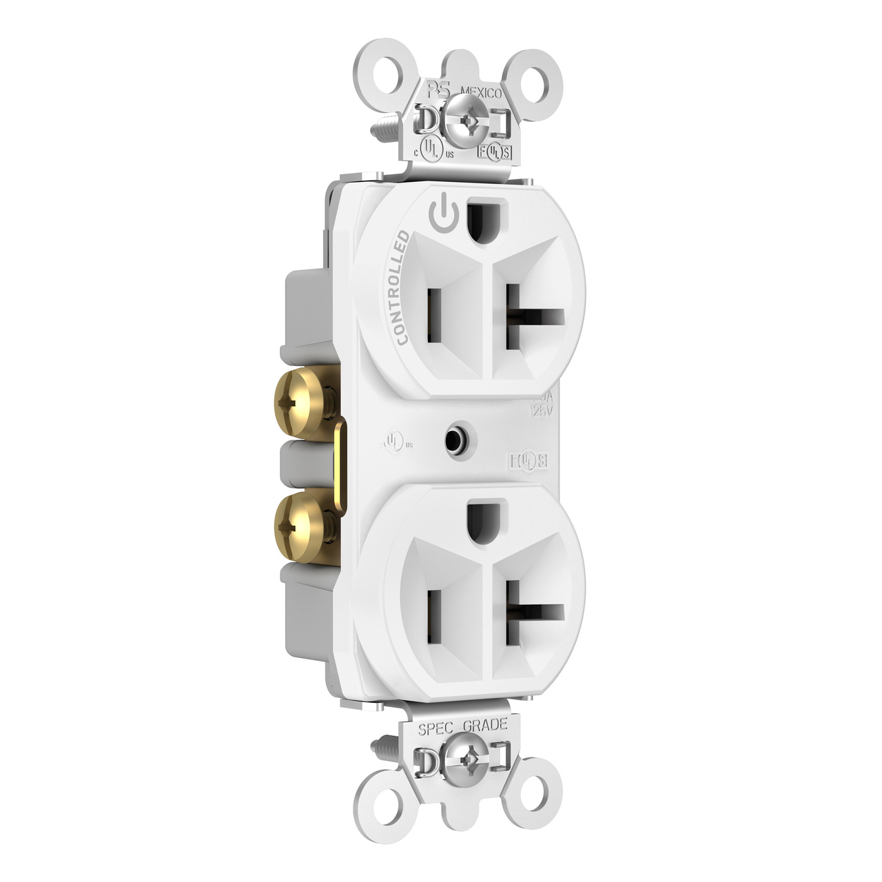 20A, 125V Half-Controlled Plug Load Controllable Receptacle, White
