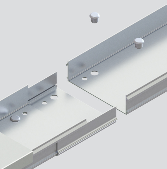 3D model of cable channel tray with accessories over light grey background