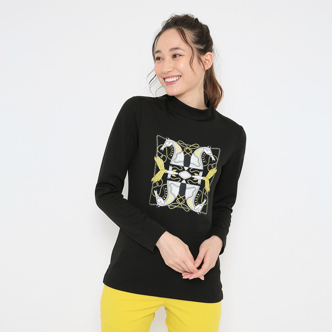 CALLAWAY  スカーフプリント ストレッチスムース モックネックシャツ (WOMENS)