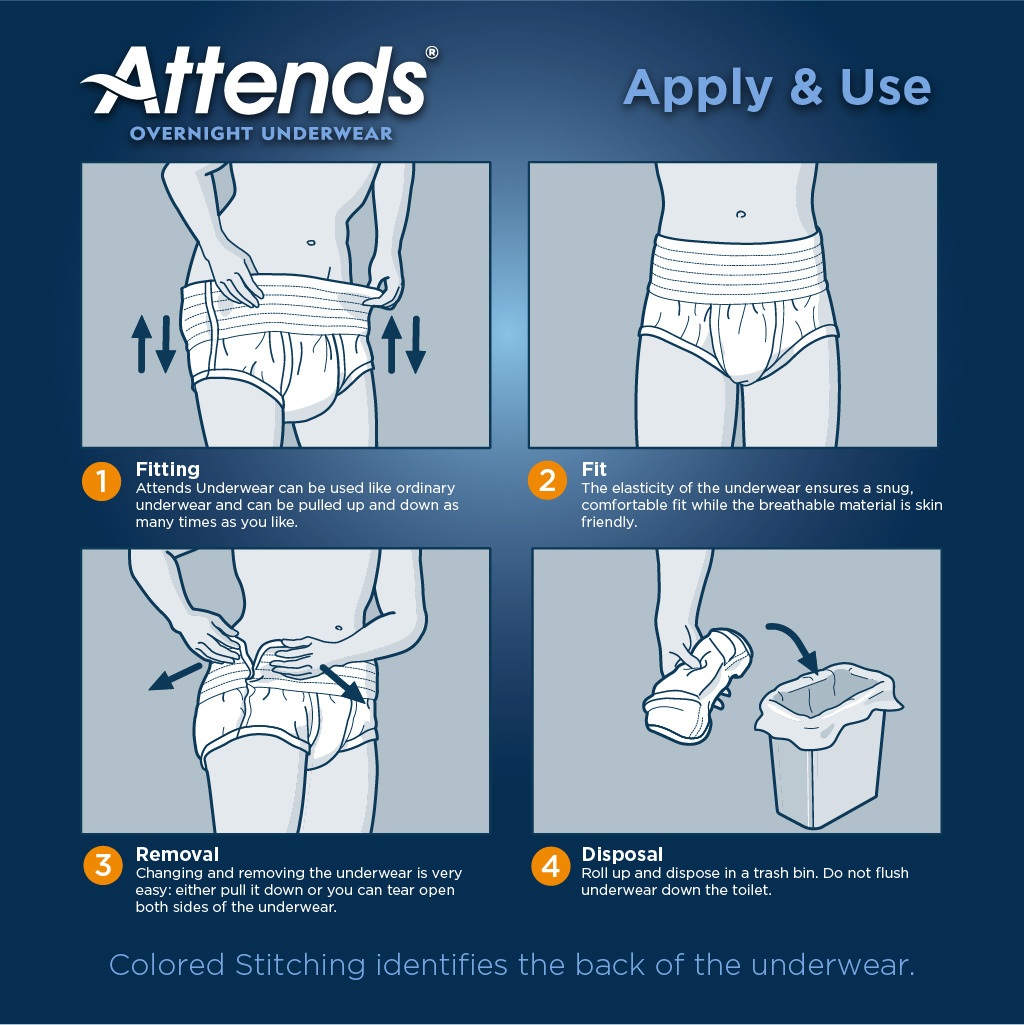Attends Overnight Underwear with Extended Wear Protection