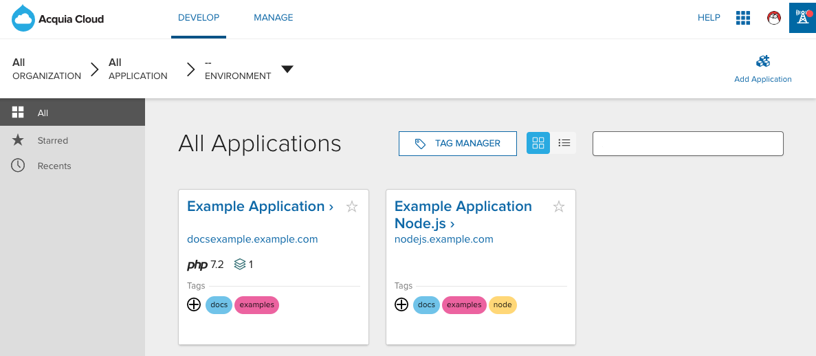 Acquia Cloud applications page