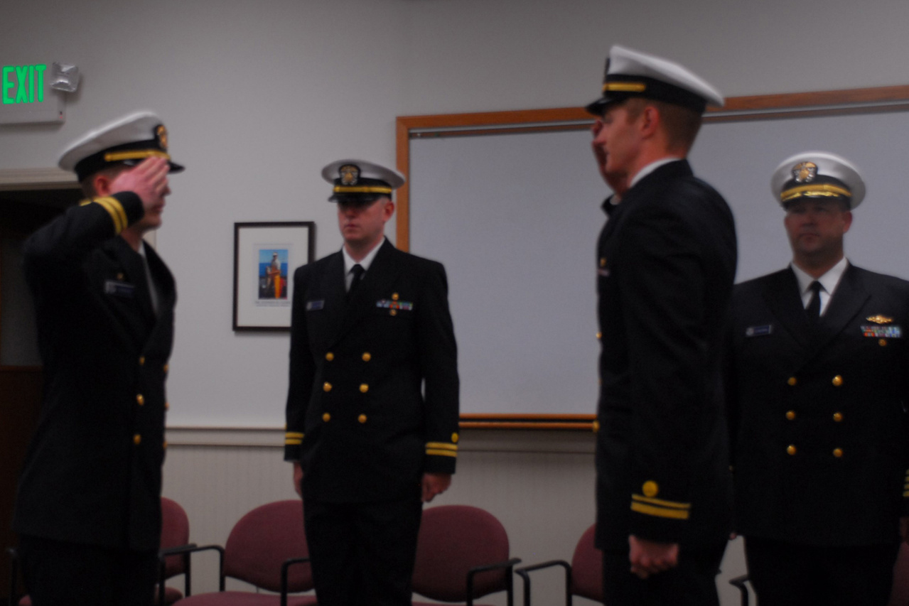 New vessel officers salute each other