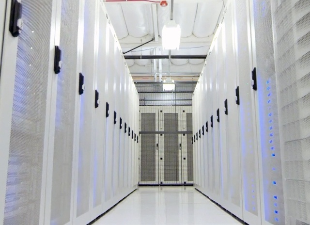 Tablet image of data center with white cabinets