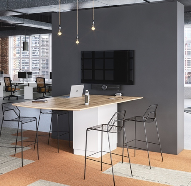 Modern and industrial office space with metal wire stools
