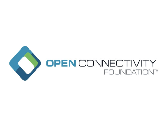 teal and green cube Open Connectivity Foundation logo