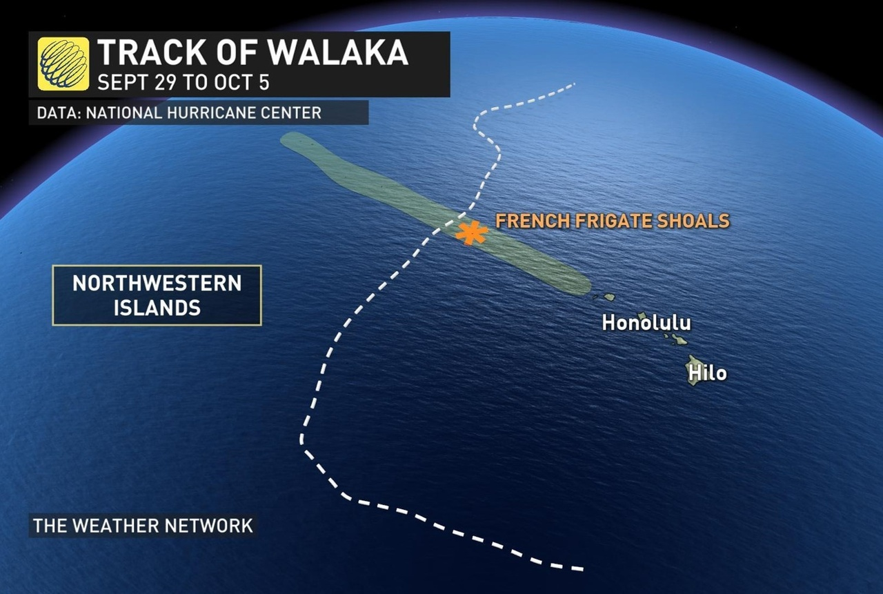 The path of Hurricane Walaka and proximity to French Frigate Shoals. Image: The Weather Network.