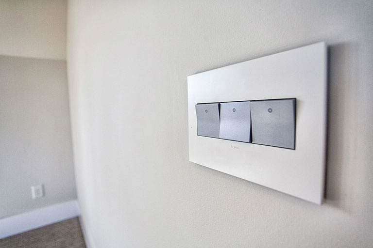 adorne paddle switches and 3-gang wall plate