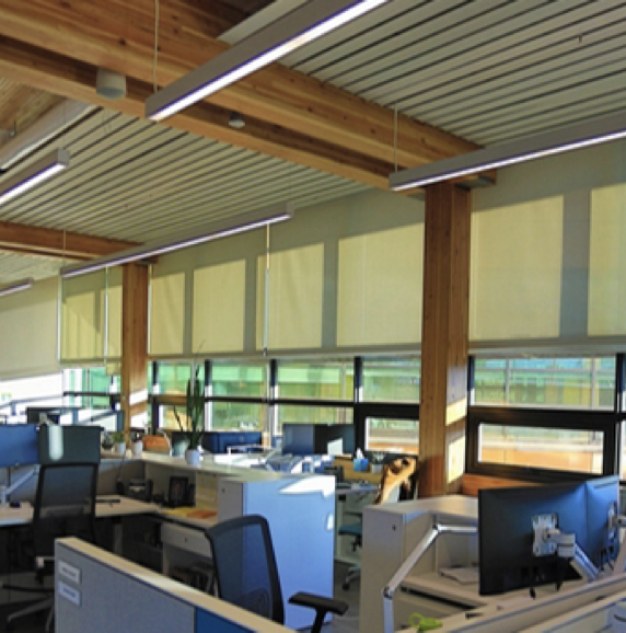Open office space with motorized shades