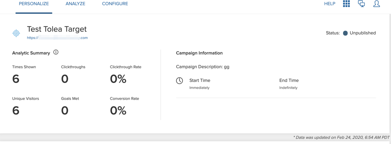 The Campaign Details page displaying a date and time stamp when data was last updated