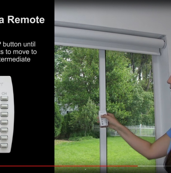 Person holding up remote control to window with roller shade