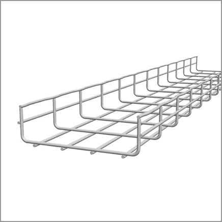 White cable mesh trays for data center cables