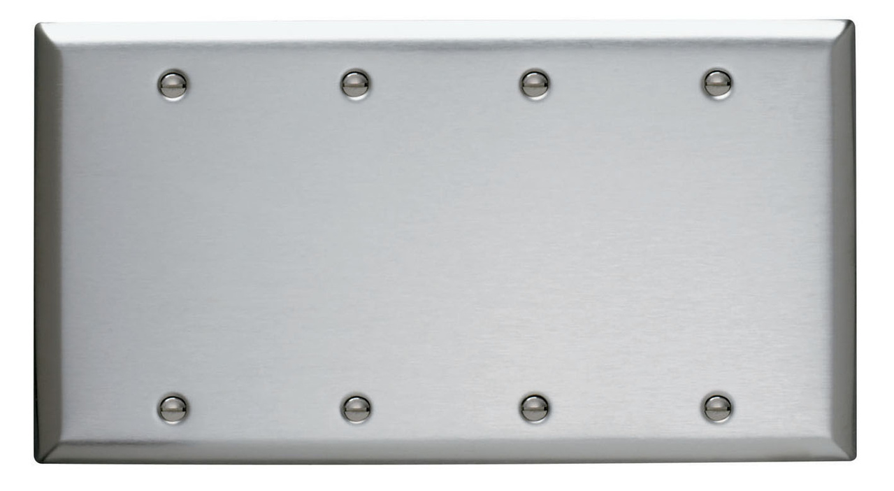 Blank Plates -- Box Mounted, Four Gang, 302/304 Stainless Steel