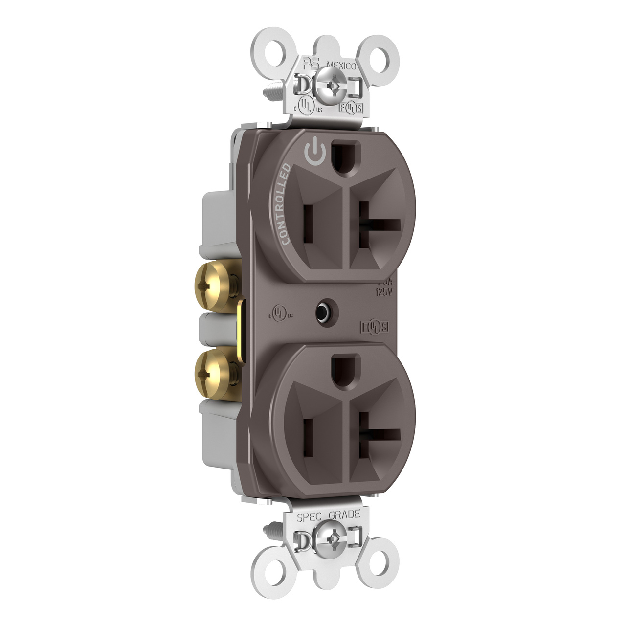 20A, 125V Half-Controlled Plug Load Controllable Receptacle, Brown