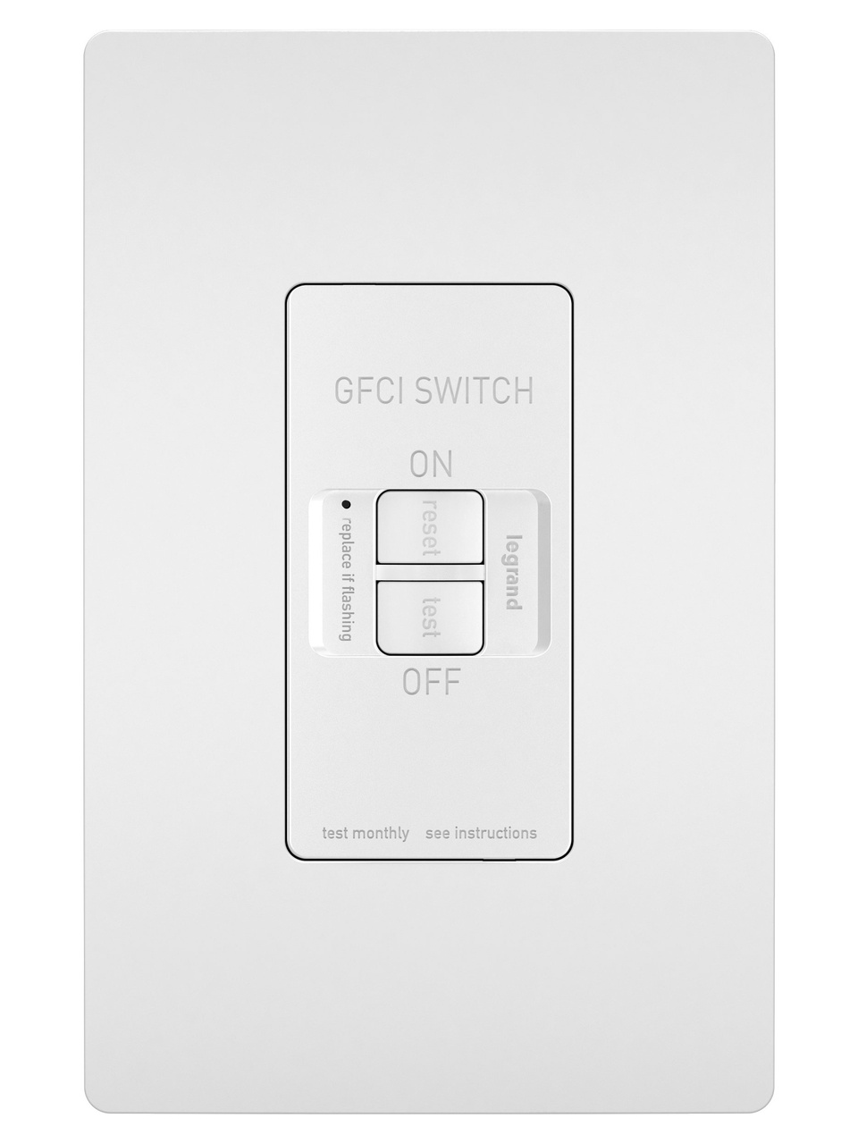 Spec-Grade Dead Front 20A Self-Test GFCI Receptacle, White