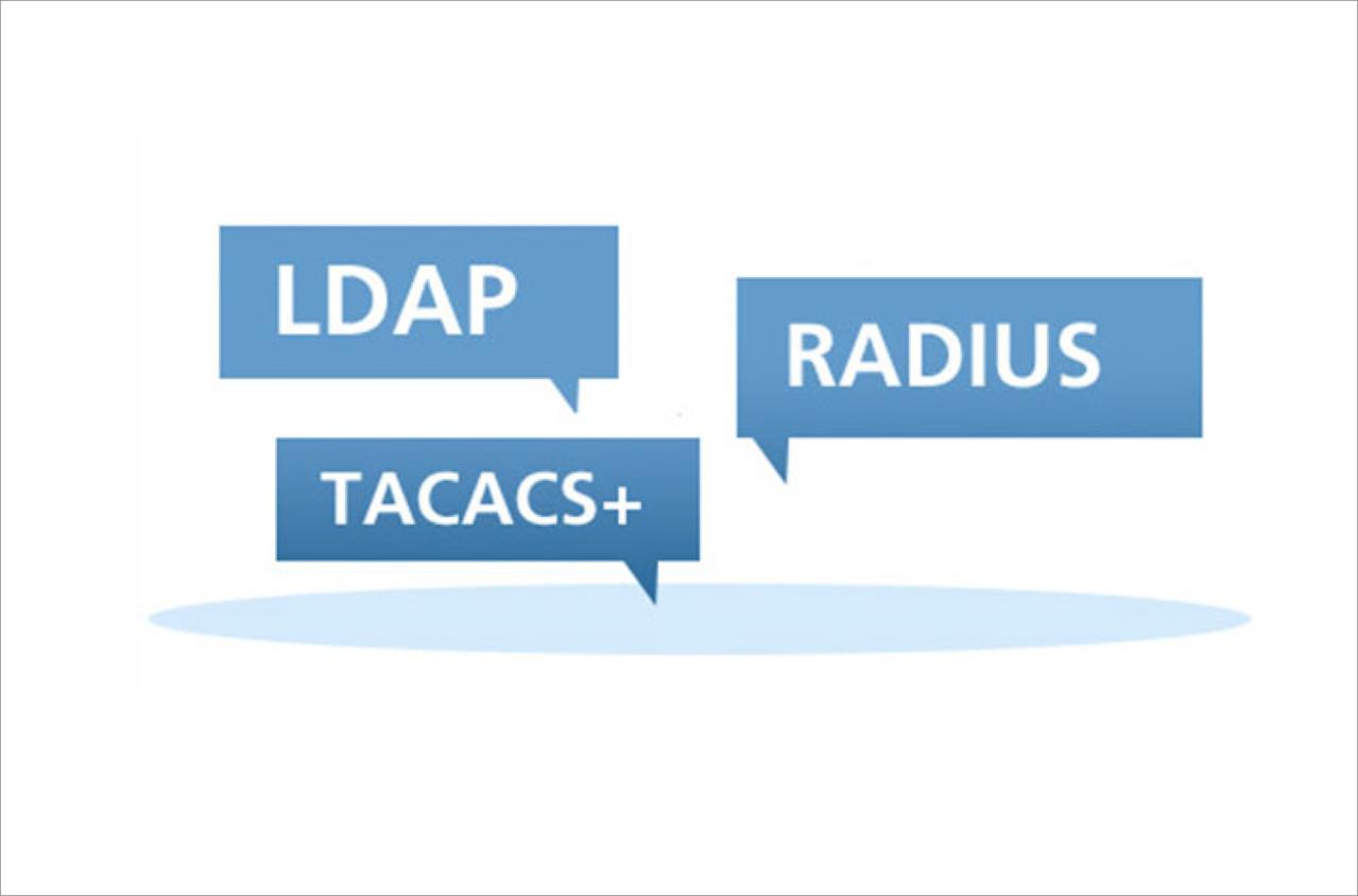 Image of three blue speech bubbles with LDAP, Radius, and TACACS inside