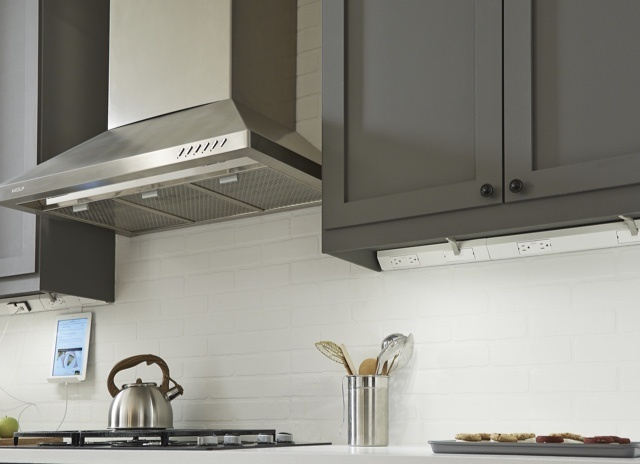 adorne Collection by Legrand under cabinet lighting built into gray cabinets