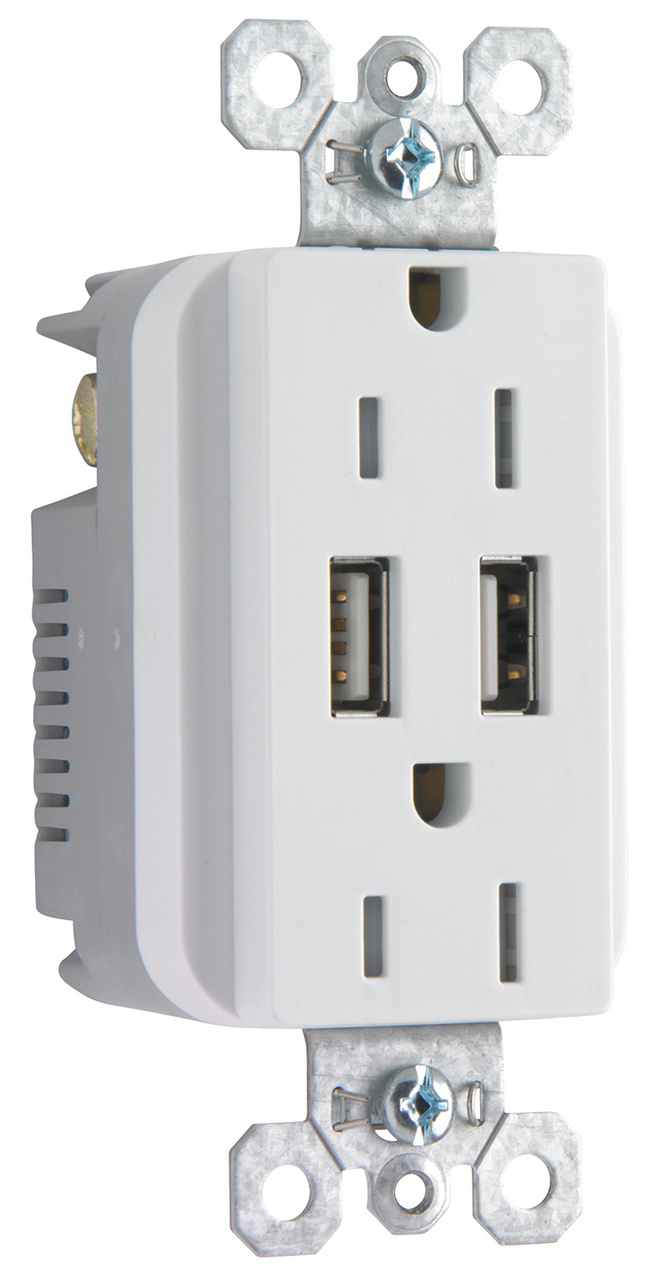Fed Spec Grade USB w/ TR 20A Duplex Receptacles | TR5362USBW | Legrand