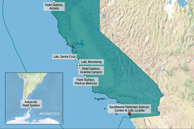 Map of West Coast Region with Southwest labs labeled.