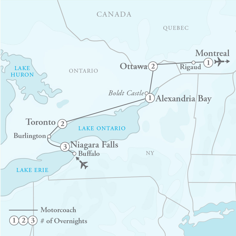 Tour Map for Canadian Cascades: Niagara Falls to Montreal