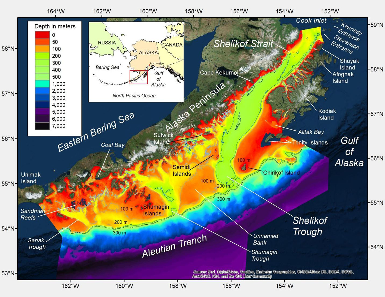 New bathymetric map of the western Gulf of Alaska.