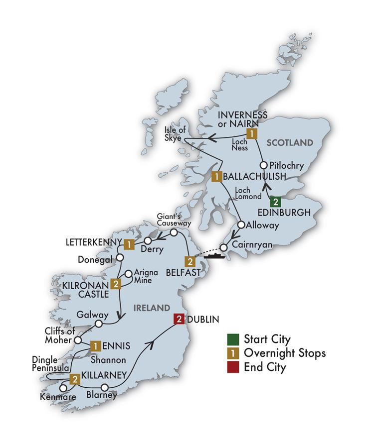 CIE Tours Tour Map  - 2021 - 15 Day The Scots Irish Tour