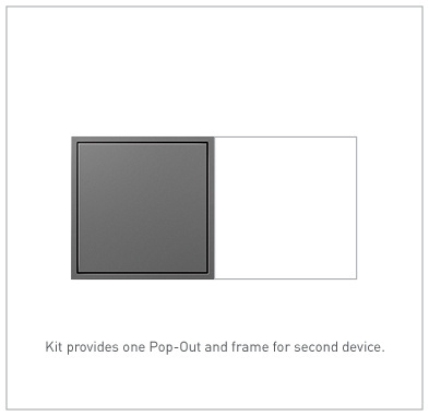 Pop-Out™ Outlet, 15A, 2-Gang, Magnesium