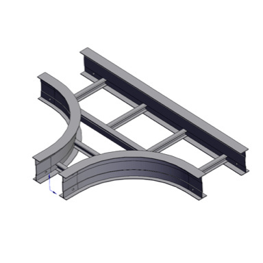 Cable tray 3D rendering of metallic horizontal fitting expanding tee section