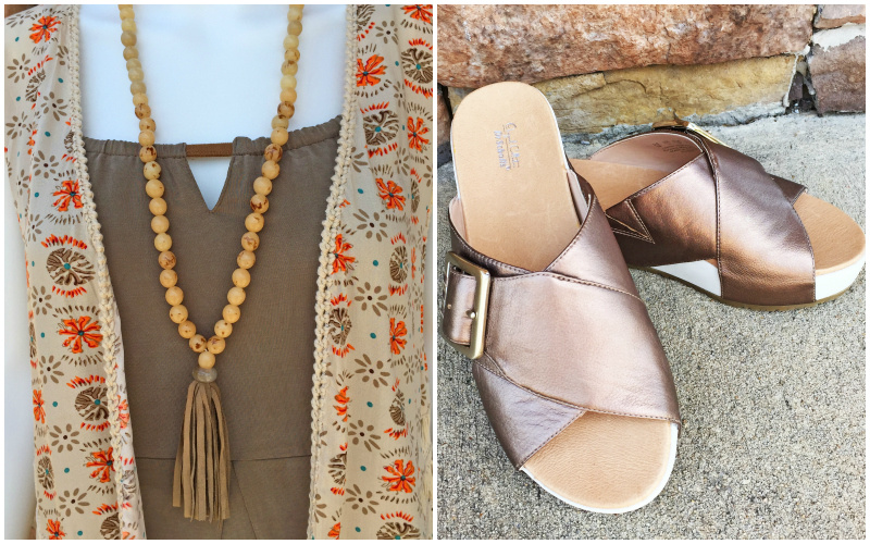 From Rogers Trading Company: beaded tassel necklace, $28.99; Dr. Scholl's pewter platform leather sandal, $79.99