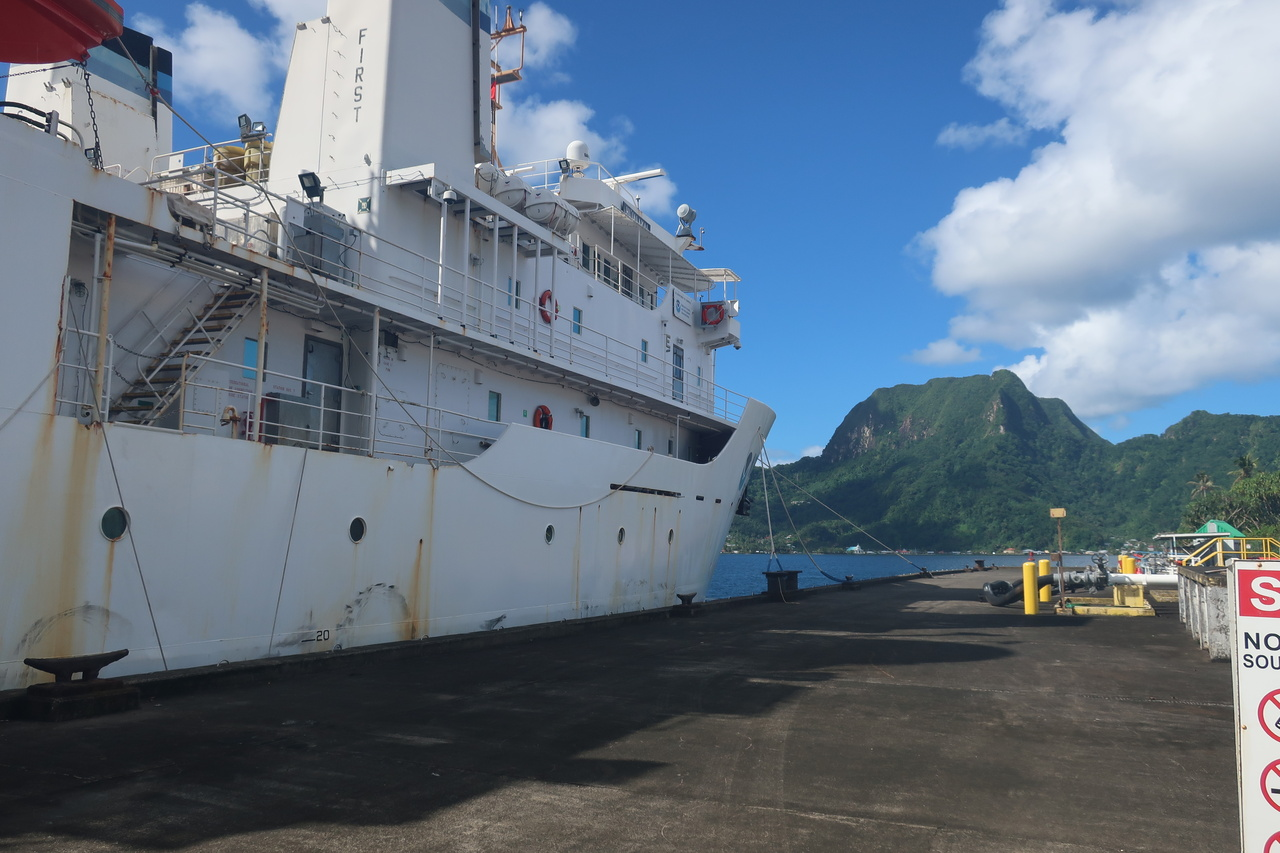 The NOAA Ship Hi'ialakai has concluded operations for leg 2 of her ASRAMP journey! The ship ties up at the fuel pier back in Tutuila to take on gasoline and food stores before heading off on leg 3 to the Line Islands. Be sure to check back for the journey back to Honolulu! (Photo: NOAA Fisheries/Kaylyn McCoy)