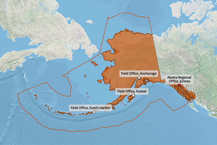 Map showing Alaska Regional Office locations and territory