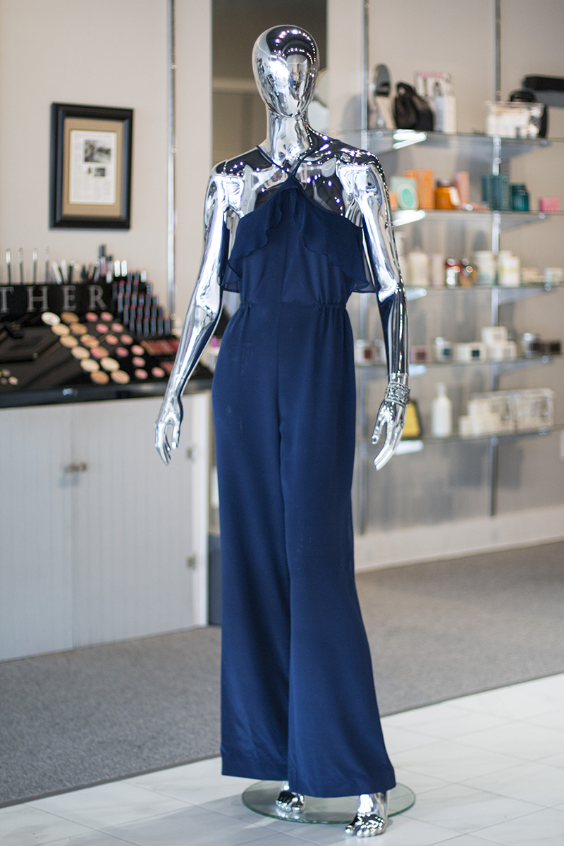 "From Heather: Haute Hippie silk halter jumpsuit in ""Memphis Blue"", $595; authentic antique rhinestone shoe buckle bracelet, $275"