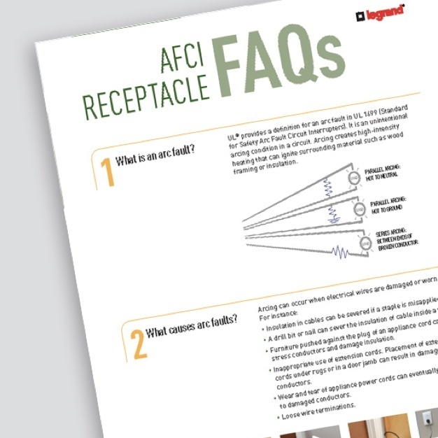 AFCI Receptacle FAQs resource page from Legrand