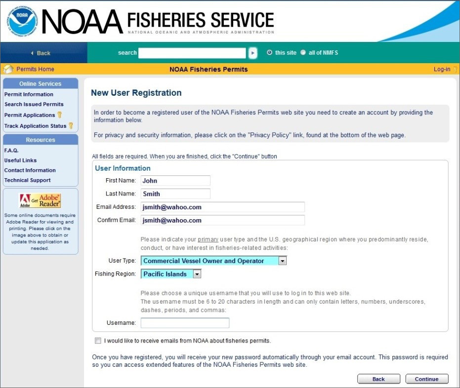 NOAA Fisheries Permits new user registration.