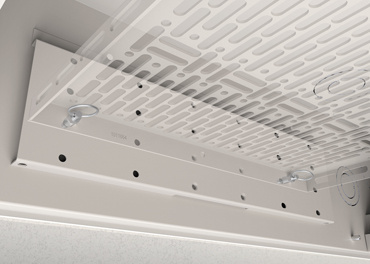 Evolution Ceiling Box shelf adjustment locations